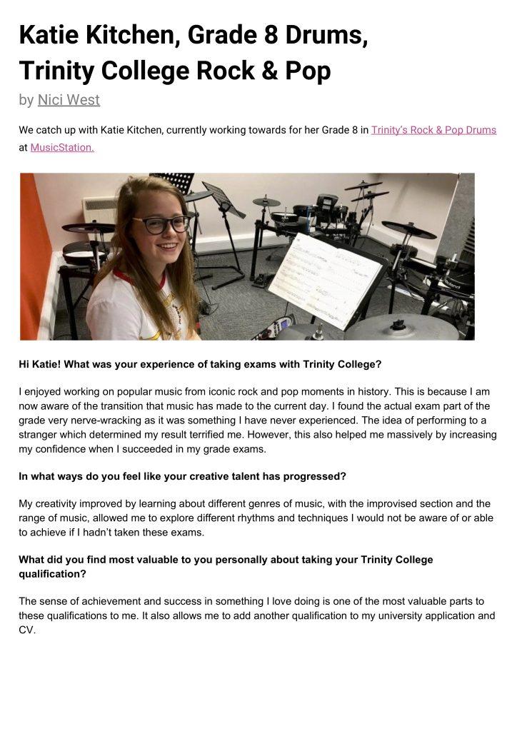 MusicStation Katie Kitchen, Grade 8 Drums Interview p1